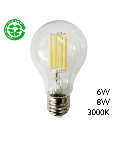 Classic filament LED Standard bulb E27 3000K A +