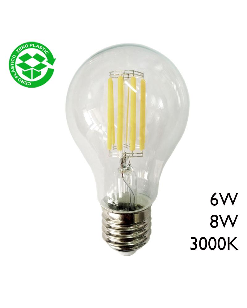 Bombilla Estándar LED filamentos E27 3000K A+