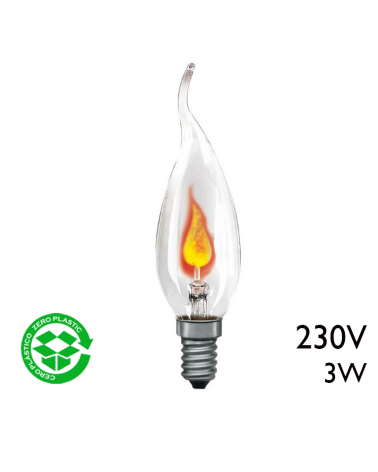 Oscillating Twisted Tip Candle Bulb 3W E14 230V