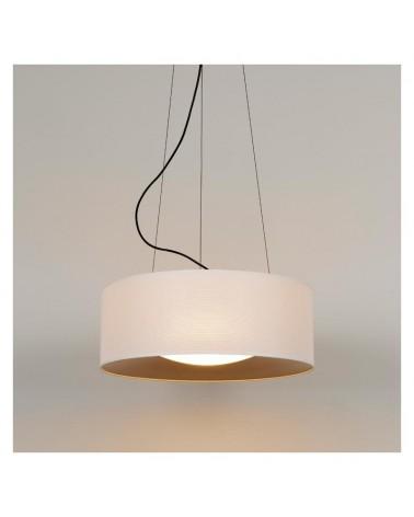 Lámpara de techo de diseño PVC y poliéster 50cm blanco interior Dorado con difusor cristal opal E27
