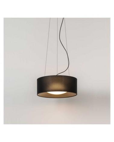 Lámpara de techo de diseño PVC y poliéster 50cm negro interior dorado con difusor cristal opal E28
