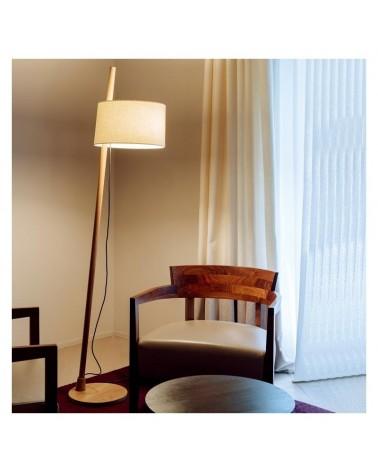 Lámpara de diseño de pie 167,2cm de diseño con fuste inclinado madera roble y pantalla de lino regulable E27
