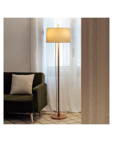 Lámpara de diseño de pie 171,3cm de diseño con fuste de madera roble y pantalla de lino regulable 3xE27