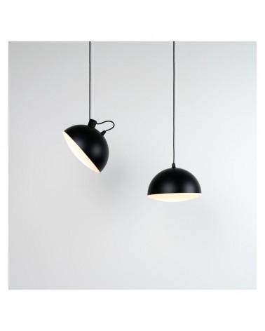 Lámpara de diseño de techo en acero orientable negra pantalla difusora en vidrio 25cm E27