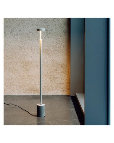 Lámpara de pie de diseño 130cm acero y aluminio base mármol regulable LED 9,6W 2700K 893Lm
