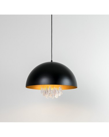 Lámpara de techo de diseño de 40cm con pantalla de acero en negro interior Dorado E27