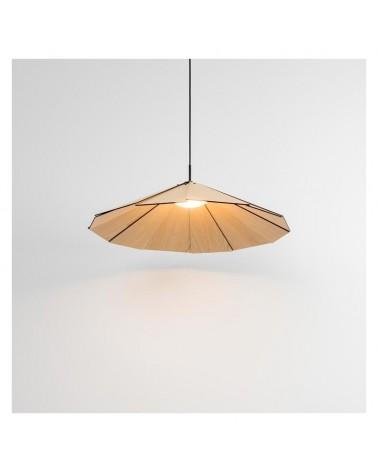 Lámpara de techo de diseño de 70cm con pantalla en lamas de madera de fresno LED 17W 2700K 1650Lm