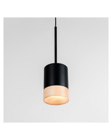 Lámpara de techo de diseño de 12cm cilindro acero acabado negro con borde en madera de fresno GU10