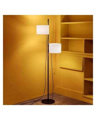 Lámpara de pie de diseño 170 cm con base de acero y 2 pantallas de poliéster crudo posicionable 2xE27