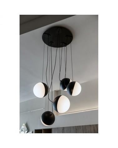 Lámpara de Diseño de techo 5  esferas blanco y negro cable Acero + cristal 16cm E27