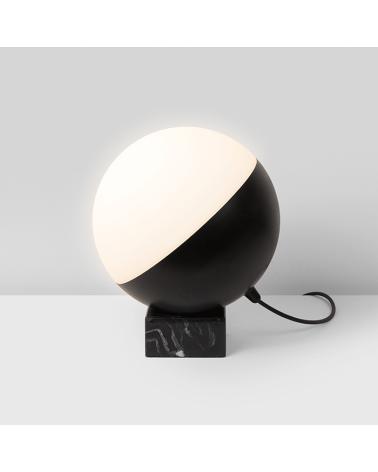 Lámpara de Diseño de mesa esfera móvil de 25cm con soporte marmol negro 5cm E-27