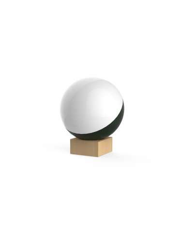 Lámpara de Diseño de mesa esfera móvil de 35cm con soporte madera fresno 8cm E-27