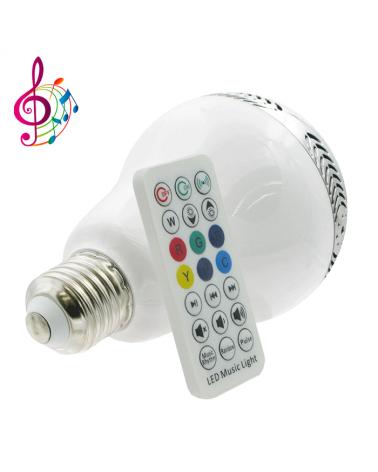 Bombilla inteligente standard 80 mm. LED Regulable MUSIC 14W RGB & altavoz Bluetooth 2700K 400 Lm.