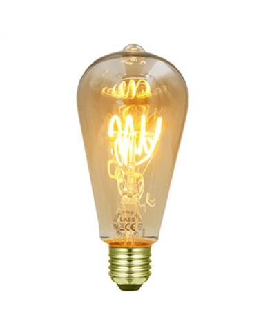 Bombilla Vintage Antorcha  Ámbar 64 mm. filamentos LED Espiral Horizontal Regulable LED E27 3W 2200K 170 Lm.
