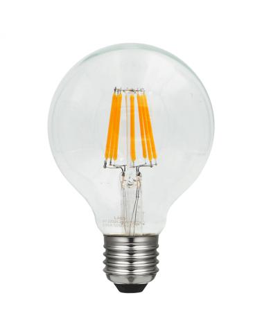 Bombilla Vintage Globo 80 mm. LED filamentos Regulable LED E27 6W 2200K 1050 Lm.