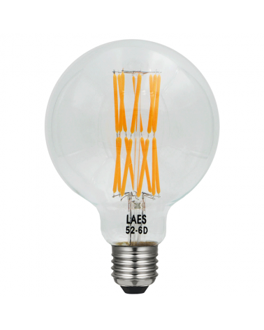 Bombilla Vintage Globo 95 mm. LED filamentos Diagonal Regulable E27 10W 2200K 630 Lm.