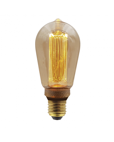Bombilla Vintage Antorcha Ámbar 64 Mm. filamentos LED Graduable Regulable LED E27 3,5W 3600K 120 Lm.
