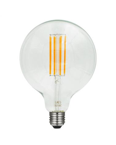 Bombilla Vintage Globo 125 mm. filamentos en zig zag LED Regulable LED E27 8W 2200K 630 Lm.
