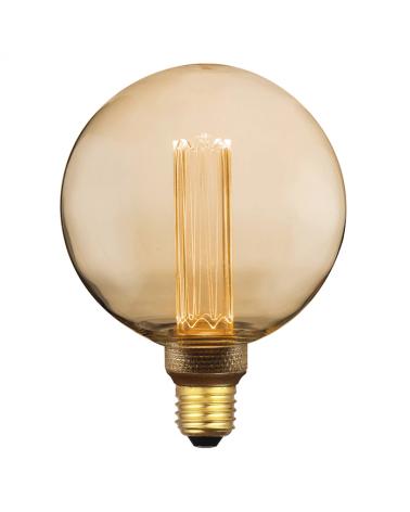 Bombilla Vintage Globo Ámbar 125mm filamentos LED Graduable Regulable LED E27 3,5W 3600K 120 Lm.