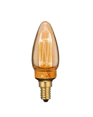 Bombilla Vintage Vela Ámbar 35 mm. filamentos Graduable LED Regulable LED E14 2,3W 3600K 70 Lm.