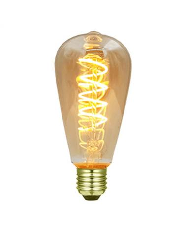 Bombilla Vintage Antorcha Ámbar 64 mm filamentos LED Espiral Horizontal Regulable LED E27 3W 2200K 170 Lm.