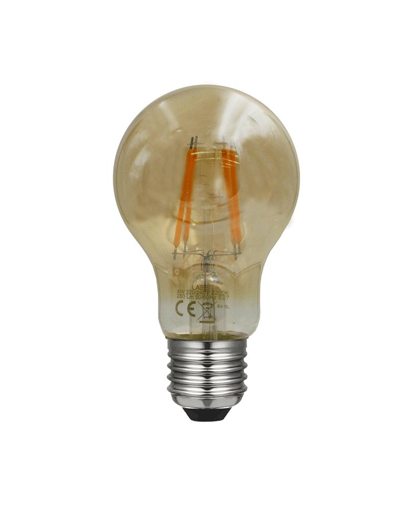 Bombilla Vintage Ámbar Standard  60 mm. filamentos LED E27 4W 2200K 280 Lm.