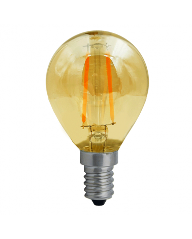 Bombilla Vintage Esférica 45 mm. Ámbar filamentos LED E14 2W 2200K 140 Lm.