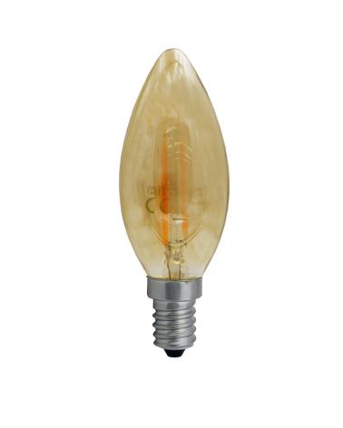 Bombilla Vintage Ámbar Vela 35mm. filamentos LED 2W 2200K 140 Lm.