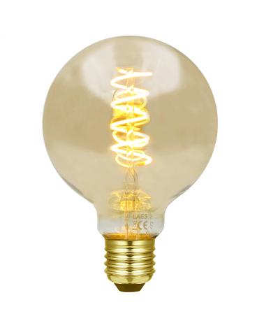 Bombilla Vintage Ámbar Globo 95mm. filamentos Espiral Vertical LED E27 3W 2200K 110 Lm.