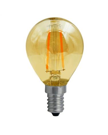 Bombilla Vintage Esférica 45 mm. Ámbar Regulable filamentos LED E14 4W 2200K 350 Lm.