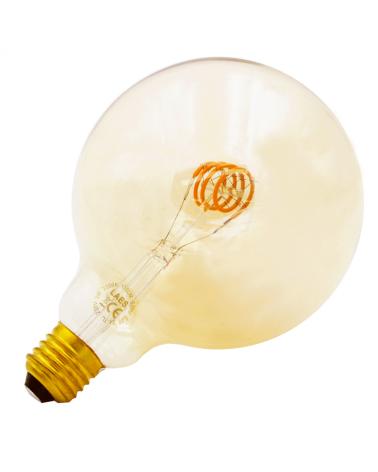 Bombilla Vintage Globo Ámbar 125mm filamentos LED Espiral  Horizontal E27 3W 2200K  110 Lm.