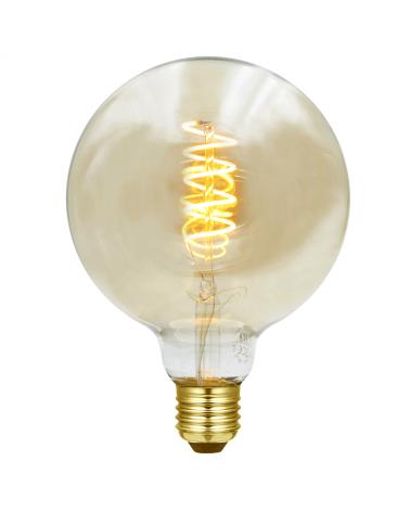 Bombilla Vintage Globo Ámbar 125mm filamentos LED Espiral Vertical E27 3W 2200K  110 Lm.