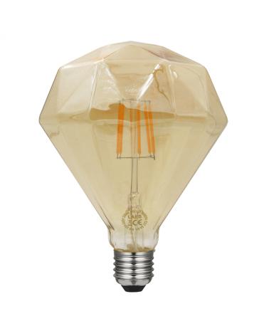 Bombilla Rombo 1 Ámbar 110 mm. filamentos 5 W LED Regulable E27 2200K 500 Lm.
