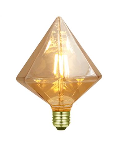 Bombilla Rombo 2 Ámbar 110 mm. filamentos LED Regulable 5W E27 2200K 500 Lm.
