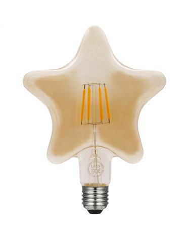 Bombilla Estrella Ámbar 140 mm. filamentos LED Regulable 6W E27 2200K 500 Lm.