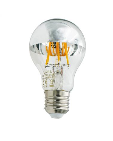 Bombilla Standard  Cúpula Espejo 60 mm. filamentos LED Regulable E27 6W 2700K 595Lm.