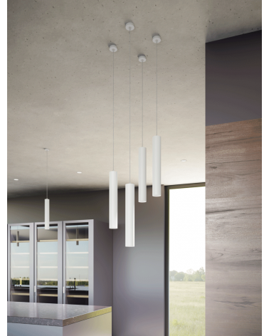 Lámpara de techo acabado blanco cilindro estilizado GU10 de 25cm altura