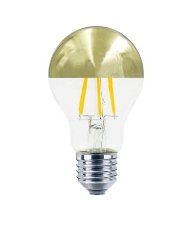 Bombilla Standard  Cúpula Espejo Dorado 60 mm. filamentos LED Regulable E27 6W 2700K 595Lm.