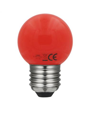 Bombilla Esférica 45 mm. Color Rojo LED E27 0,9W