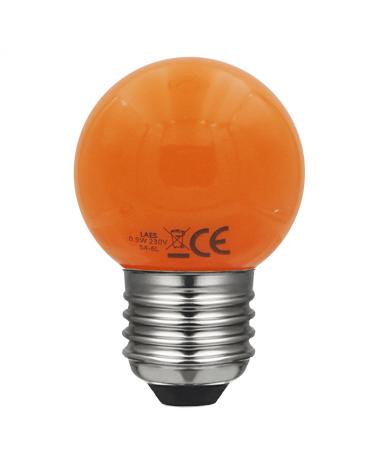 Bombilla Esférica 45 mm. Color Naranja LED E27 0,9W