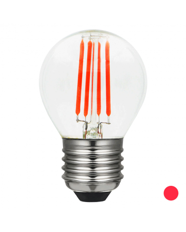 Bombilla Esférica 45 mm. filamentos Color Rojo Regulable LED E27 4W
