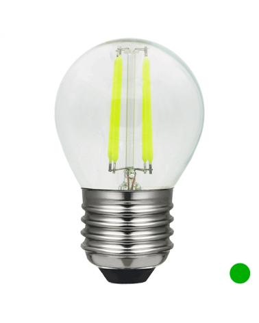 Bombilla Esférica 45 mm. filamentos Color Verde Regulable LED E27 4W