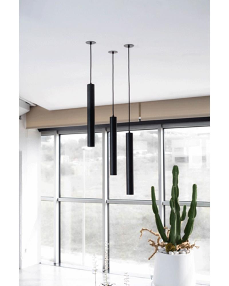 Lámpara de techo acabado negro cilindro estilizado GU10 de 25cm altura