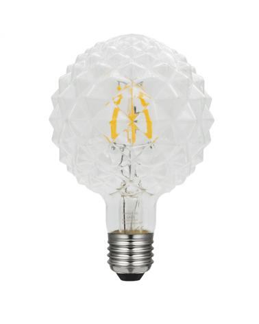 Bombilla Globo 95 mm. Relieve Diamante filamentos LED Regulable E27 5W 2700K 480Lm.