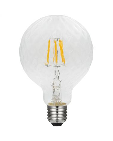 Bombilla Globo 95 mm. Relieve Suave Diamante filamentos LED Regulable E27 5W 2700K 480Lm.