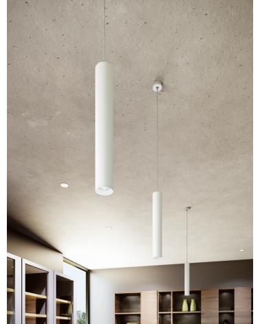 Lámpara de techo acabado blanco cilindro estilizado GU10 de 45cm altura