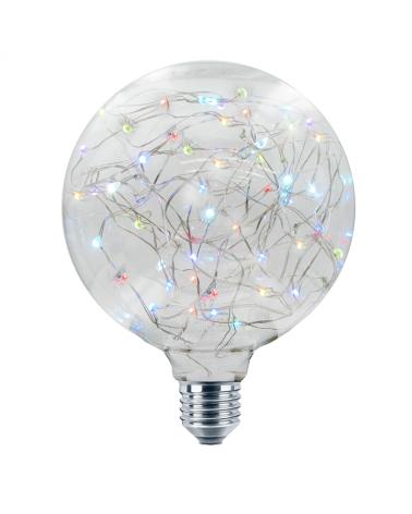 Bombilla Globo Clara Hilos Multicolor 125 mm. LED E27 1,4W 50Lm.