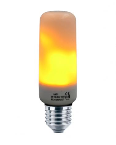 Bombilla Tubular 40 mm. Efecto llama LED  E27 3W 80Lm.