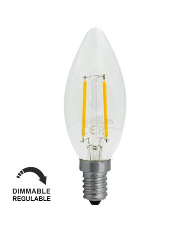Bombilla Vintage Vela 35mm. Regulable Claro filamentos LED 4W E14 2700K 400 Lm.