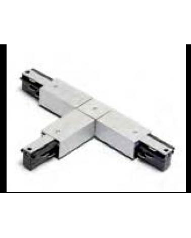 Conector forma de T derecha de carriles universal 172cm trifásico color aluminio